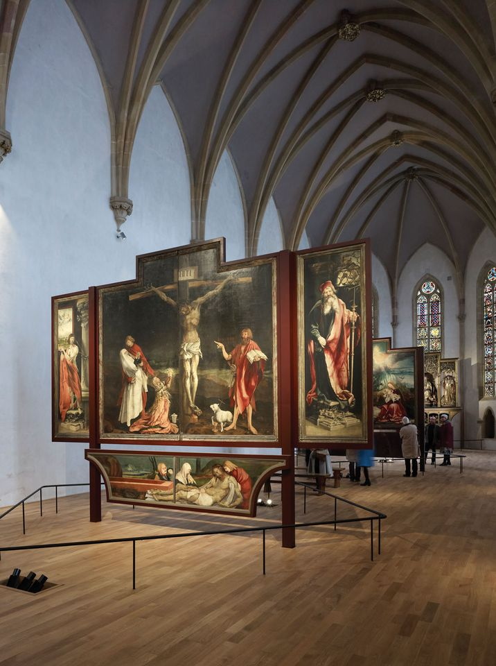 The painted panels will be restored at Colmar's Unterlinden Museum, while sculptures from the altarpiece's interior (below) have been sent to Paris