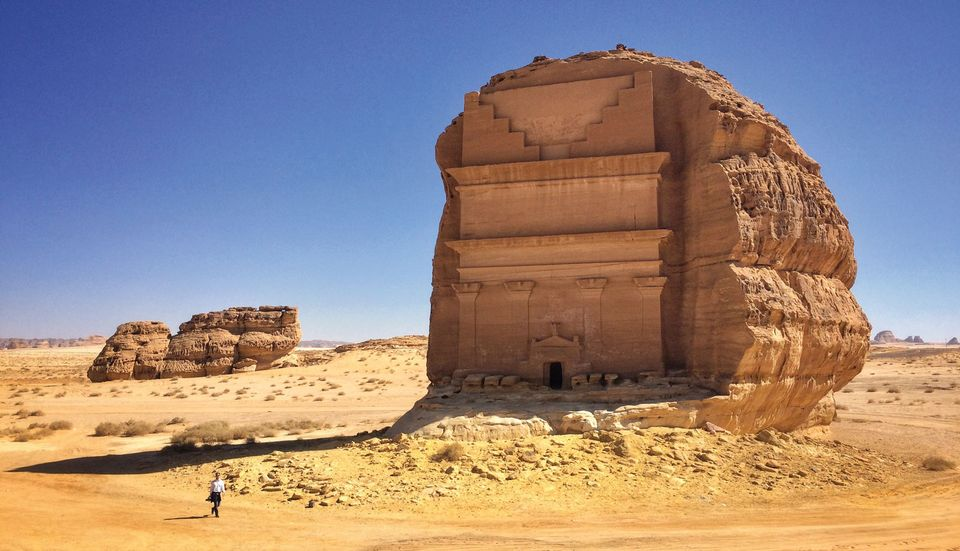 An ancient tomb at the Mada'in Saleh archaeological site in the Al-Ula region