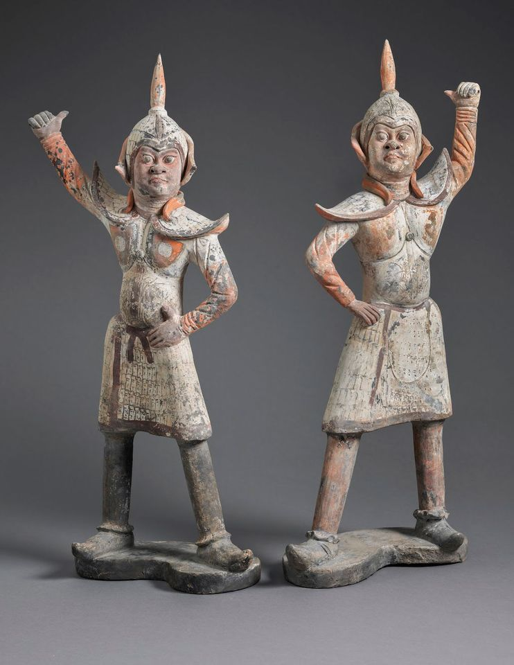 "Painted earthenware Chinese guardians (mid-sixth century) Eskenazi, London, 1-10 November, £250,000. This pair of expressive earthenware guardians is part of Eskenazi's second showcase of works from the collection of the American film and television agent Norman Kurland, whose agency represented iconic TV shows ranging from Cheers to Scrubs. The Hollywood honcho amassed a beloved collection of works from the brief Six Dynasties period (AD220-581) in China. He once reportedly considered being buried with these objects, but he opted instead to consign them with the London-based dealer instead of donating the works to a museum, where ""perhaps five or ten pieces would go on display and the rest would go into some dark store"", Kurland once told the Financial Times."