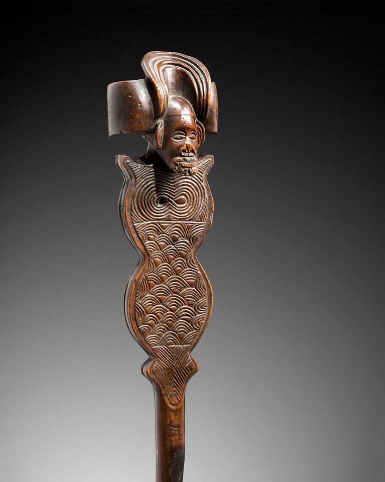 """Moxico-style Chokwe sceptre (late 19th to early 20th century): The African and Oceanic Collection of Béatrice and Patrick Caput, Binoche & Giquello, Drouot, Paris, 15 November, Estimate €280,000-€350,000. This sinuous wooden sceptre was made in the style of the Moxico School of the Upper Zambezi region of Namibia and has been widely published and shown since its discovery in the 1930s. The scepter was """"used by a king as a symbol and element of power"""", says Alain de Monbrison, the auction house's African and Oceanic specialist adding that """"such works are extremely rare"""". It is the last known example in private hands; three similar pieces are held by the British Museum, the Ethnologisches Museum Berlin and the Ethnographic Museum of Geneva."""