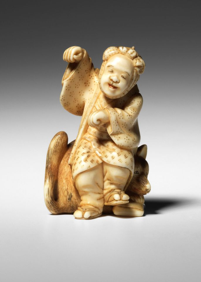 Netsuke of a man and a fox (around 1870): Netsuke from the de Waal Collection, Matthew Barton, London, 21 November. Estimate £600-£800. As chronicled in his book, The Hare with the Amber Eyes, the ceramicist Edmund de Waal's great-great uncle  gave away his collection of netsuke to his cousin Viktor von Ephrussi of Vienna in 1889. Though the Nazis seized the family's Viennese palace in 1938, these netsuke—small toggles to hold together or suspend items from kimonos—were saved thanks to a savvy maid who was secretly squirreling them away in a mattress. When De Waal's grandmother Elisabeth returned to Vienna, 264 netsuke were restored to her family and 80 of them, including this man-and-fox number, will be featured in this sale.
