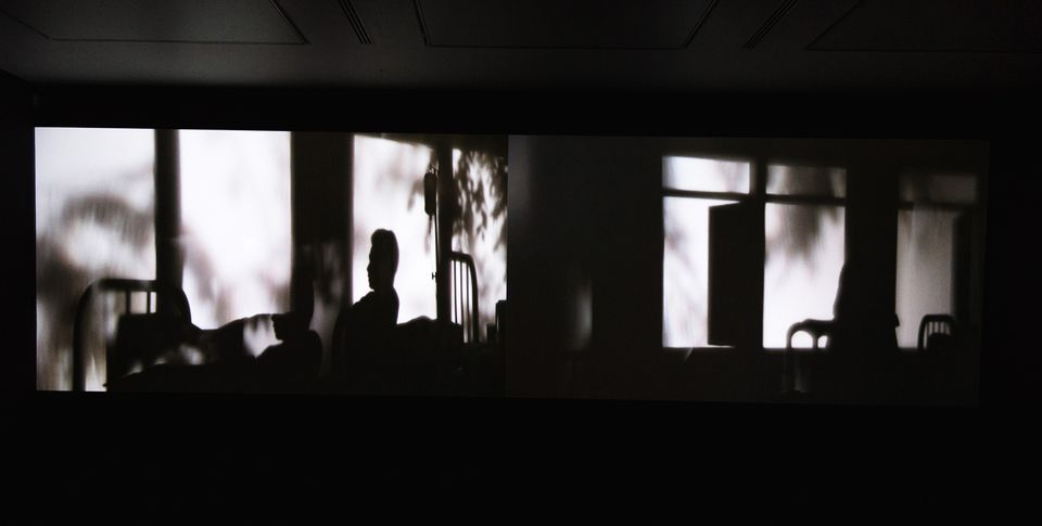 The Thai artist and filmmaker Apichatpong Weerasethakul's Invisibility (2016) makes its UK debut in the show. The silent film—soundtracked instead by the shutters opening and closing on the projectors— is set across two screens, showing scenes where the protagonists live in a dreamy world of monochrome silhouettes, playing with ideas of memory.