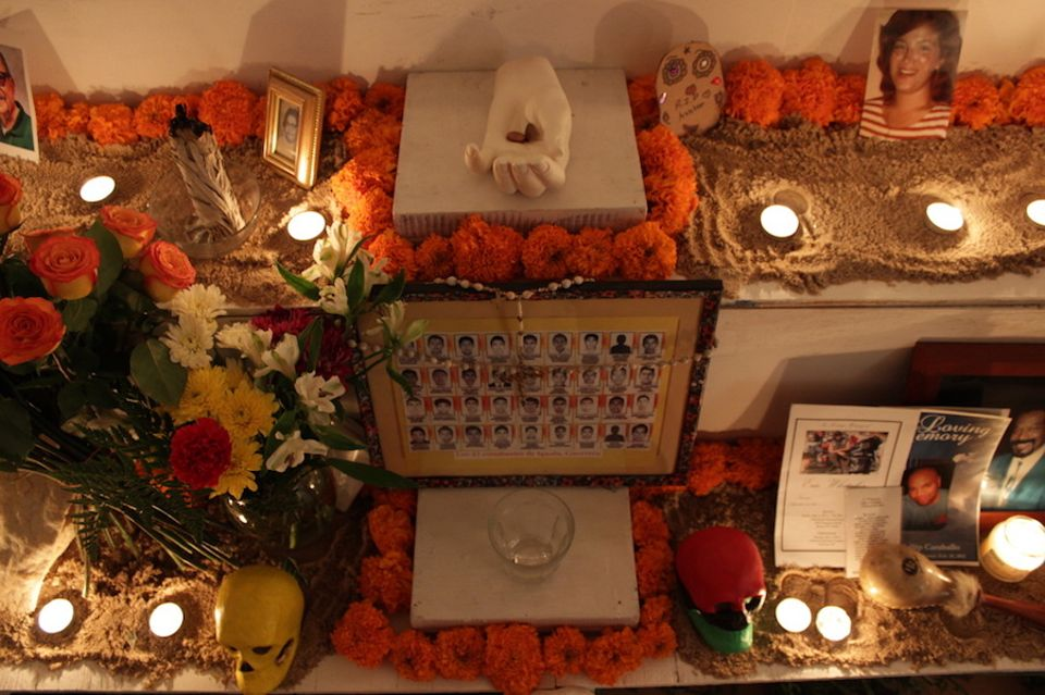 An ofrenda made in 2014 by Adrian Viajero Roman and participating visitors
