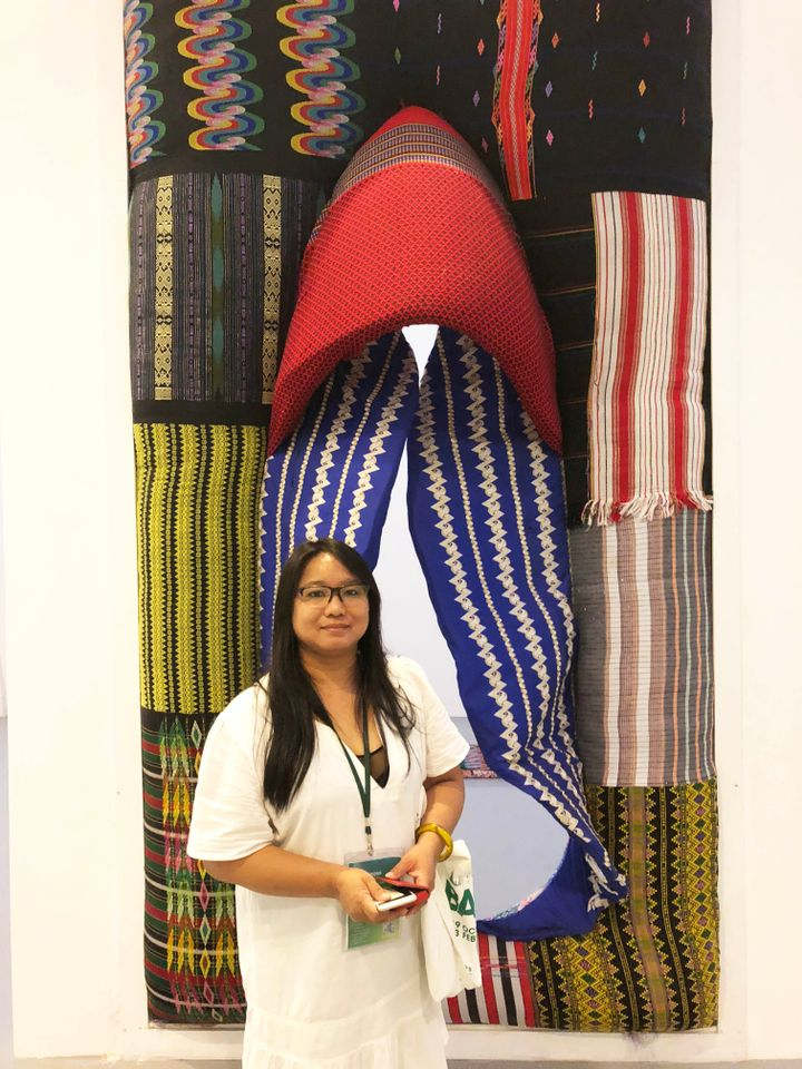 "Nge Lay (Myanmar) The Check Point, 2018 is a giant vagina constructed from ceremonial tribal sarongs which visitors are encouraged to walk through at BACC. ""All of us come through this gate to get here,"" the artist told The Art Newspaper. ""I am a mother, a wife, I have a lot of feelings about being a woman,"" she says in explanation of her subject matter, adding that it is ""very difficult to show art in Mynamar"" and that she is grateful to have been included in the Bangkok exhibition."