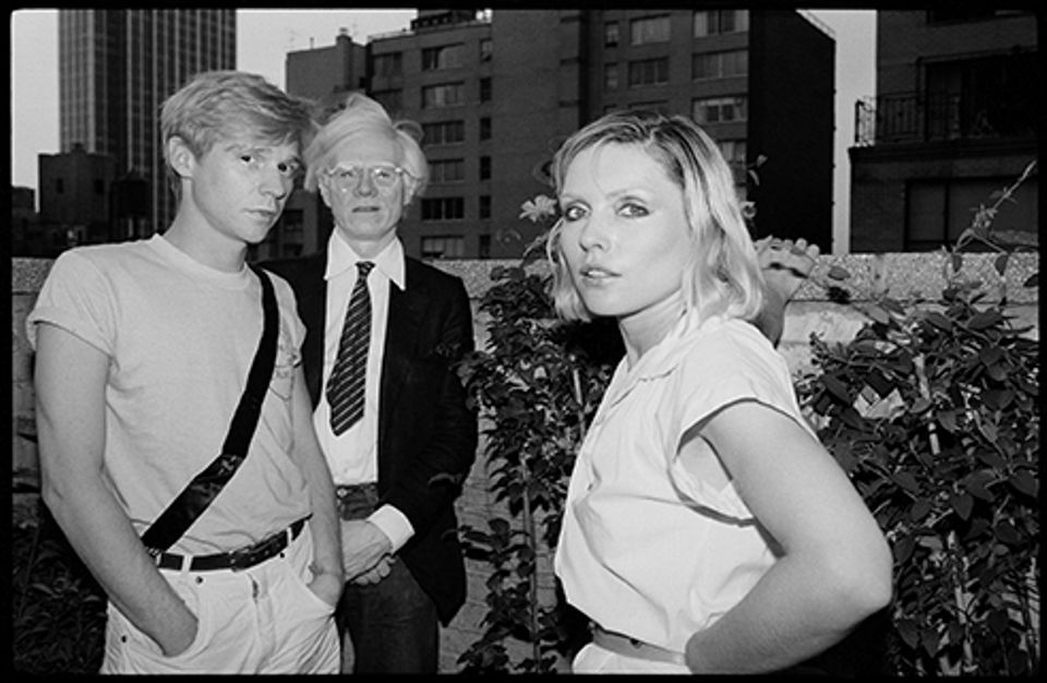 From left,  Dennis Christopher, Andy Warhol and Debbie Harry in Manhattan