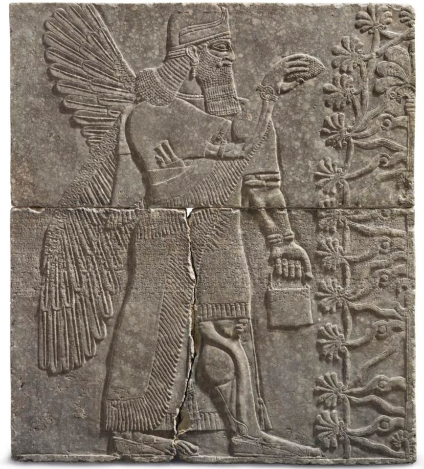 An Assyrian gypsum relief of a Winged Genius sold for $30.1m on 31 October.
