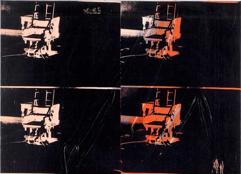 Bought by investors through Maecenas, but still kept in a freeport: Andy Warhol's 14 Small Electric Chairs (1980)