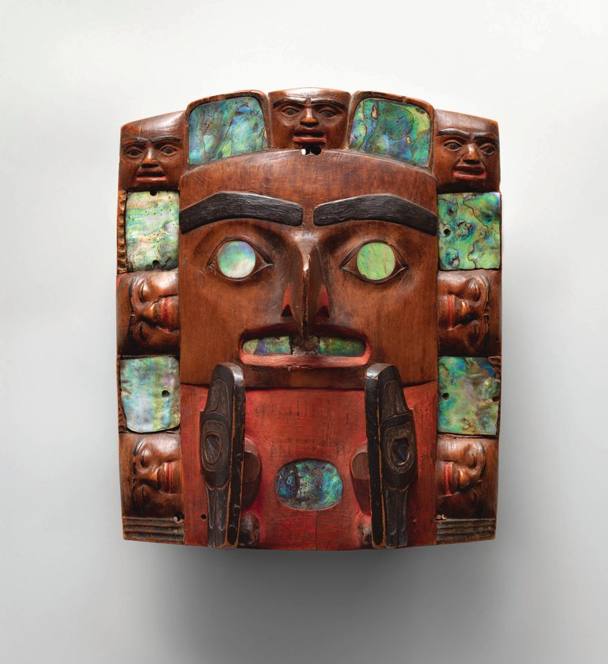 This headdress frontlet from British Columbia made by a Tsimshian artist (around 1820–40) is part of the Mets show
