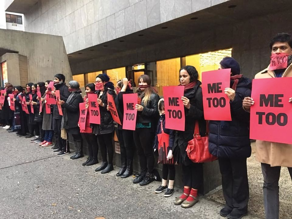 "Protestors participating in ""#MeToo at The Met"" (performance/protest by artist Jaishri Abichandani) on Dec. 3, 2017; the location of Raghubir Singh exhibit."