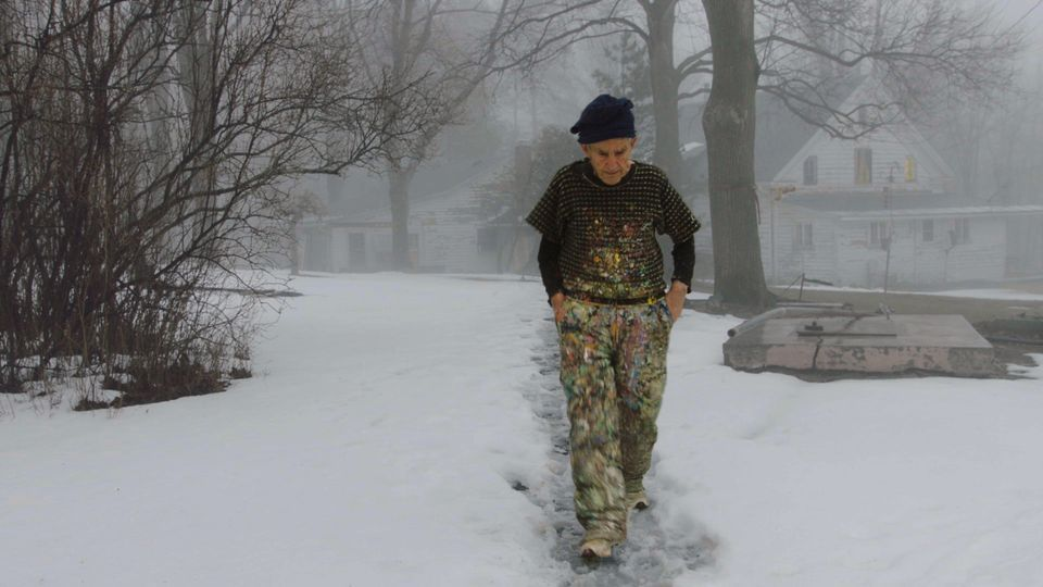 Painter Larry Poons walking to his studio in The Price of Everything, directed by Nathaniel Kahn