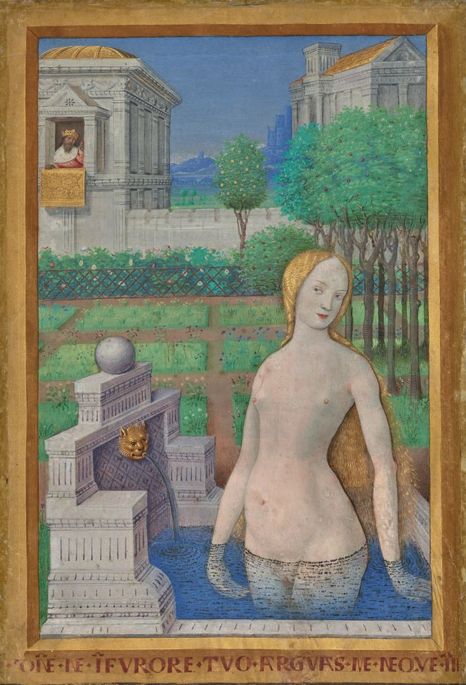 Jean Bourdichon French, 1457–1521 Bathing Bathsheba, about 1498 Leaf from the Hours of Louis XII Tempera colors and gold paint on vellum Leaf: 24.3 x 17 cm (9 9/16 x 6 11/16 in.), Ms. 79, recto 2003.105.recto