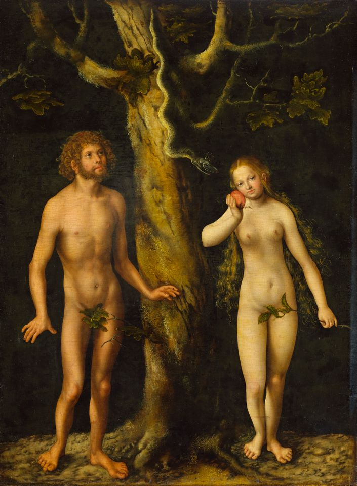 Lucas Cranach the Elder German, 1472–1553 The Temptation of Adam and Eve, about 1510 Oil on panel Unframed: 59 x 44 cm (23 1/4 x 17 5/16 in.)