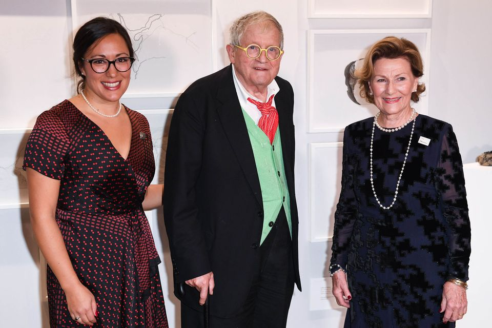 The recipient of the 2018 award was Emma Nishimura, a Japanese-Canadian artist (left), while the first QSPA Lifetime Achievement Award was awarded to David Hockney