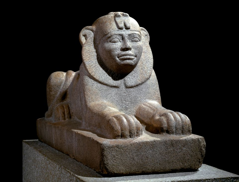 A granite sphinx of Taharqo, Kawa, Sudan (around 680 BC) is on show at the British Museum
