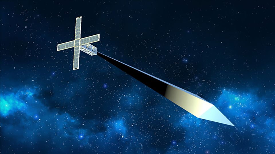 A rendering of Trevor Paglen's diamond-shaped sculpture, attached to a tiny satellite