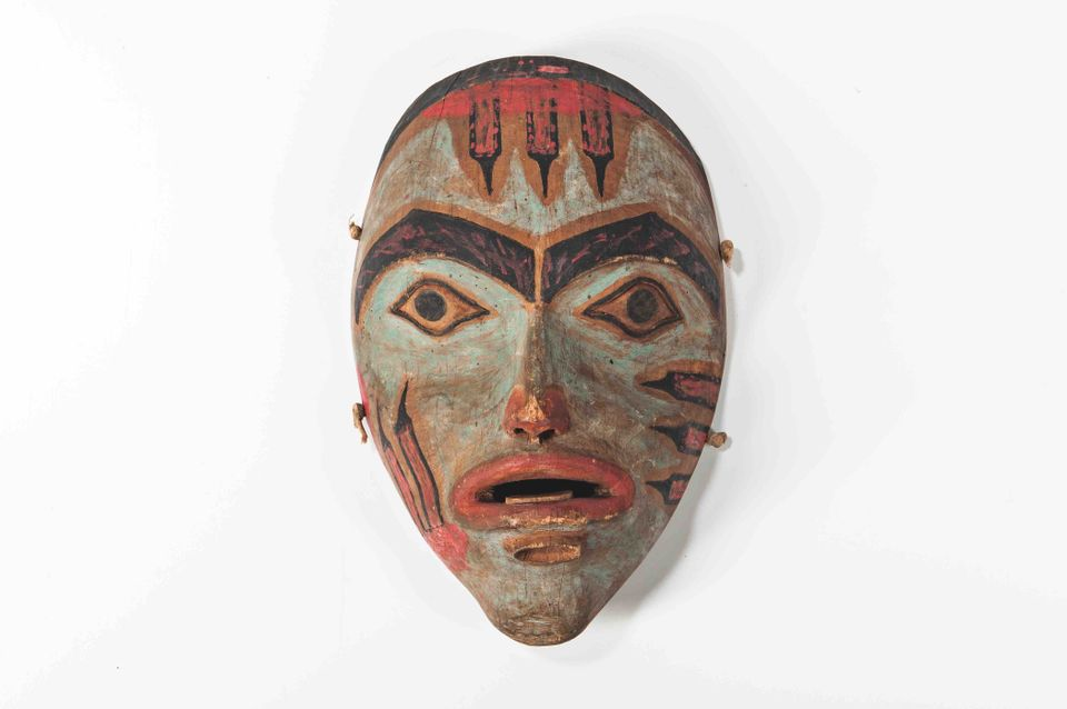 A female Northwest Coast mask (around 1860-70) pulled from Skinner's American Indian and Ethnographic Art on 1 December