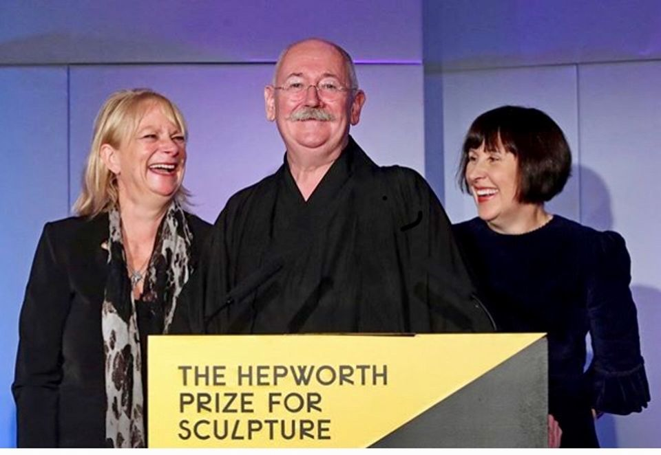 Cerith Wyn Evans with Alice Rawsthorn, chair of Hepworth Wakefield and Louisa Buck, art correspondent and the compère of the Hepworth Prize's award ceremony