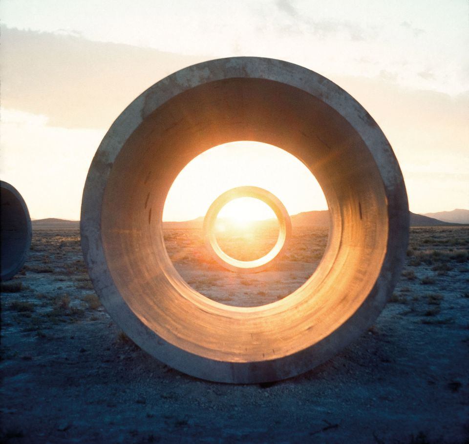 DIA ART FOUNDATION, NEW YORK- Nancy Holt's Sun Tunnels: The Dia Art Foundation acquired its first piece of Land Art by a female artist, Nancy Holt's Sun Tunnels (1973-76) in northwestern Utah's Great Basin Desert. The work comprises four concrete cylinders placed in a cross-like formation to align with the sunrise and sunset on the horizon during the summer and winter solstices. The holes line up with stars in constellations including Perseus and Capricorn. Dia purchased the work for an undisclosed sum from the Holt-Smithson Foundation, which also donated the room-sized installation Holes of Light (1973), a precursor to Sun Tunnels