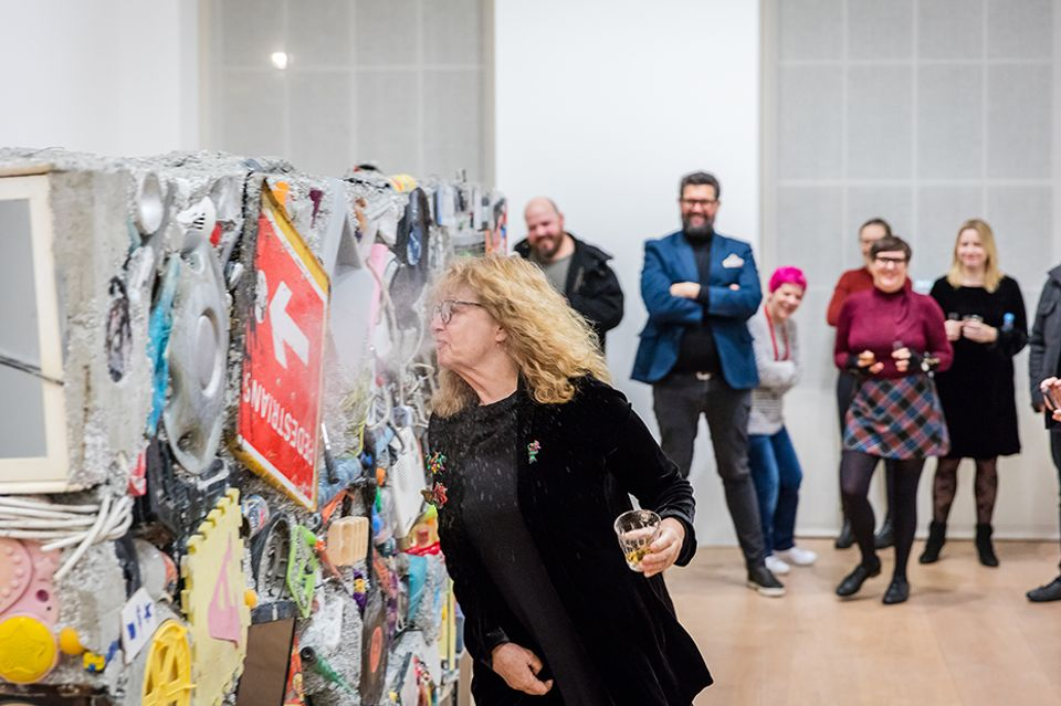 Guests spit out tequila at the Gordon Matta-Clark exhibition