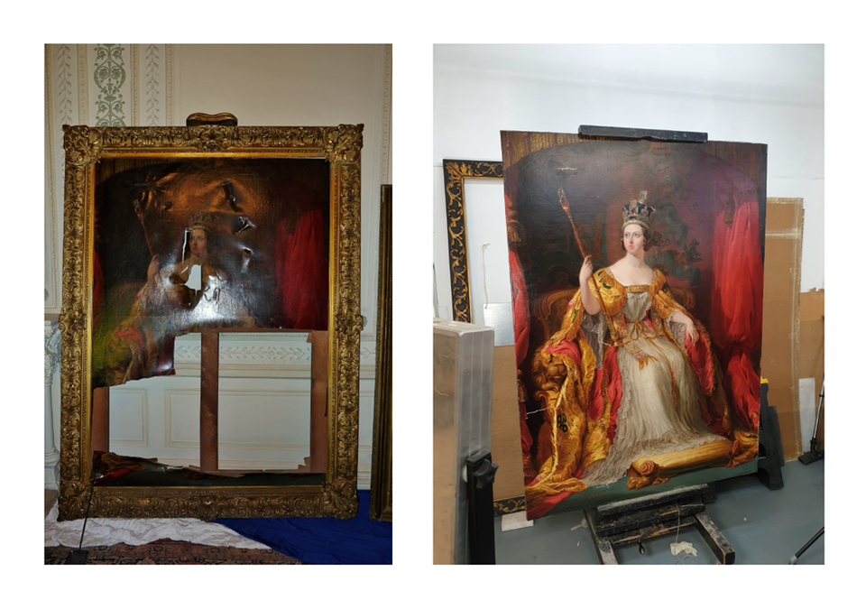 A portrait of Queen Victoria by Sir George Hayter after it was torn in the 2011 attack and, right, today following restoration