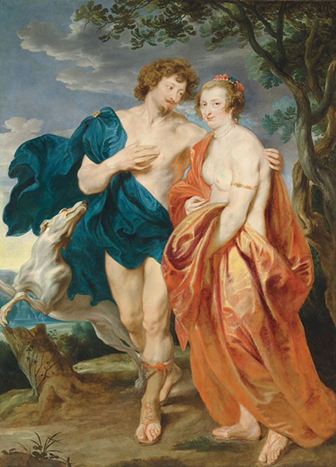 Anthony van Dyck, Double portrait of George Villiers, Marquess and later 1st Duke of Buckingham, and his wife, Katherine Manners, as Venus and Adonis (1620-21)- The Eric And Marie-Louise Albada Jelgersma Collection, Christie's, London, 6 December. Estimate: $2.5m-$3.5m: What does a fashionable aristocratic couple in the 17th century need on one's wall? Why, an enormous double portrait in the guise of Venus and Adonis, of course. Once thought to be a portrait of Rubens and his wife, since its rediscovery in 1990 this early work dating from Van Dyck's first visit to England has been recognised as depicting Villiers and his wife. It is the only known example of a mythologising portrait by Van Dyck on such a grand scale, but is it a flamboyant marriage portrait? Or was it, as the expert Jeremy Wood posits, completed later perhaps as a loving memorial, after the duke's assassination in 1628, commissioned by his grieving widow?