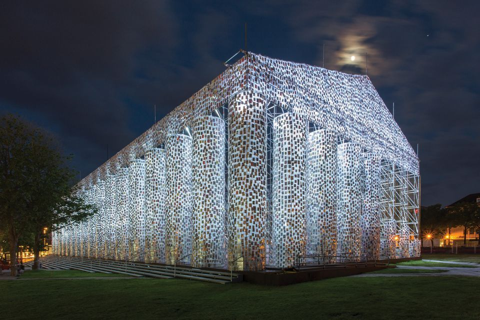 Marta Minujín's The Parthenon of Books (2017) was on show in Kassel