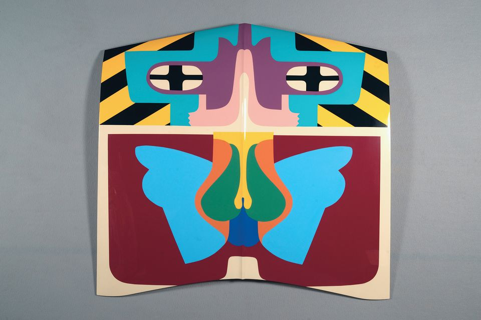 Judy Chicago, Flight Hood, 1965/2011; Sprayed automotive lacquer on car hood, 43 x 43 x 4 1/8 in