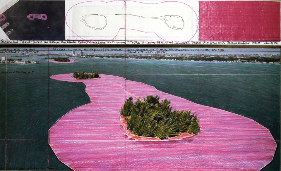 Surrounded Islands (Project for Biscayne Bay, Greater Miami, Florida) (1982), drawing in two parts