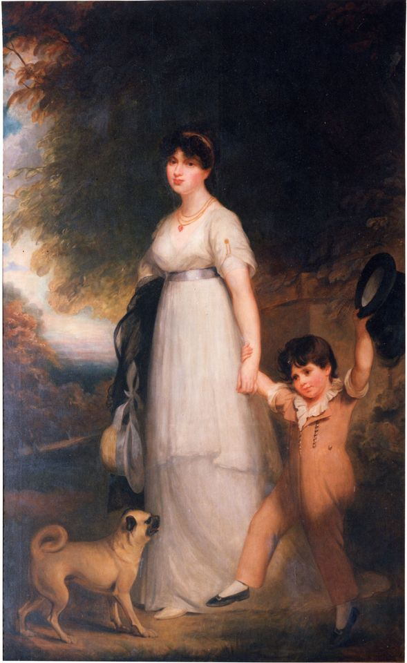William Beechey, Anna Eliza (Duchess of Buckingham and Chandos), and her son the future Second Duke of Buckingham and Chandos (1802)