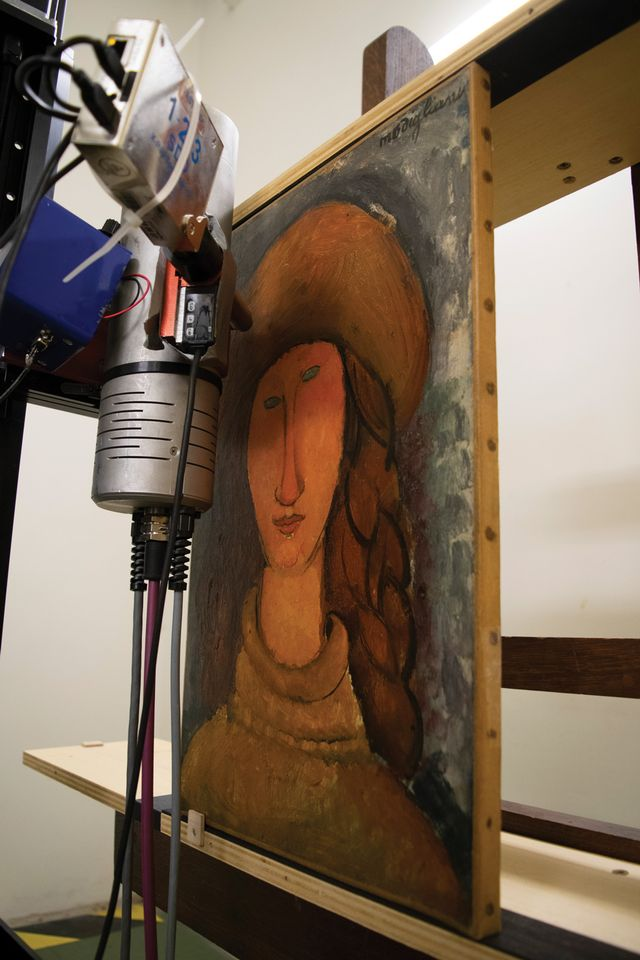 Modigliani's Portrait of Jeanne Hébuterne (1918) from the Musée d'Art Moderne de Troyes undergoing X-ray fluorescence analysis