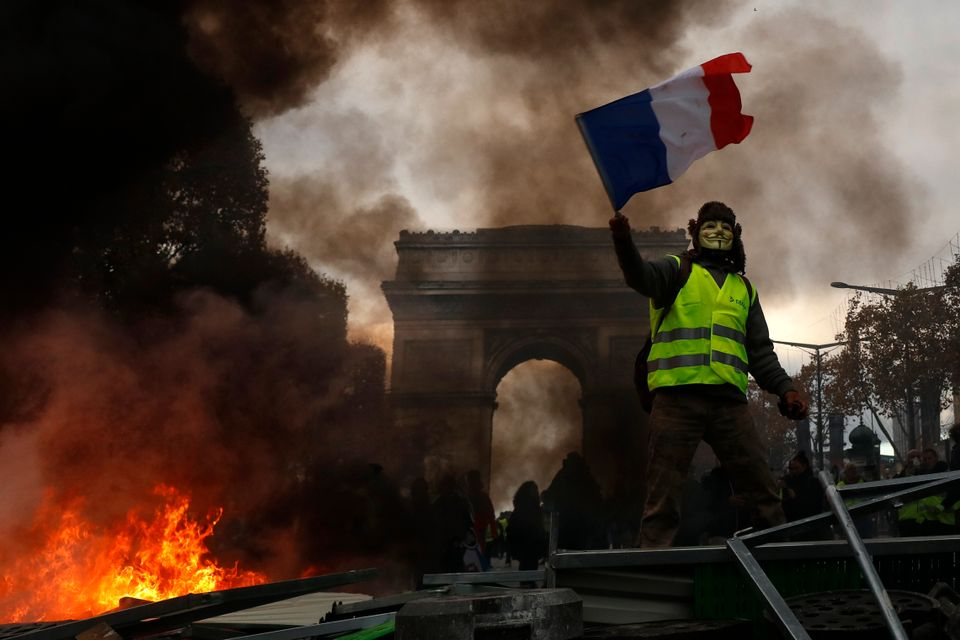 The Arc de Triomphe on the Champs-Elysées was graffitied by rioters in Paris