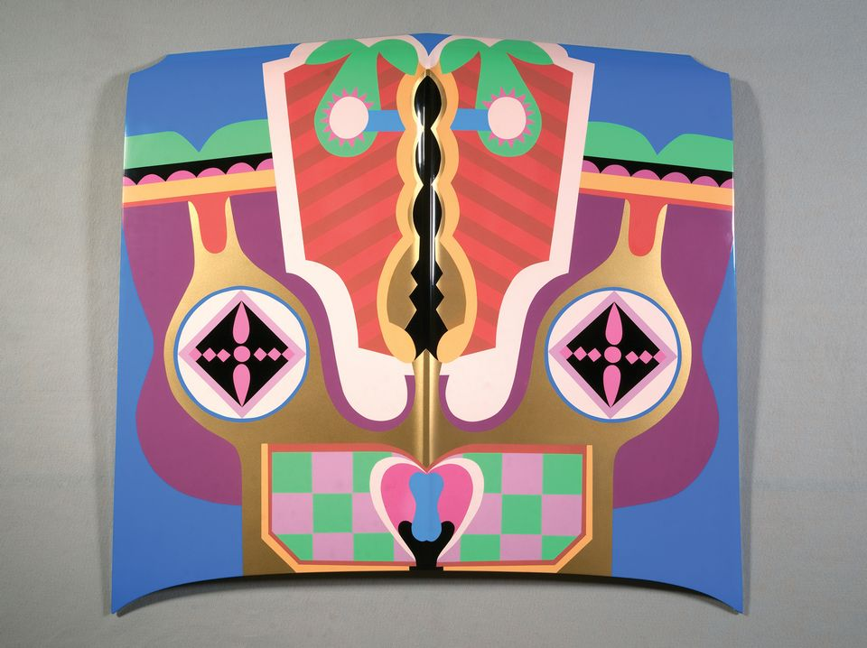 A painted car bonnet called Birth Hood (1965/2011) by Judy Chicago