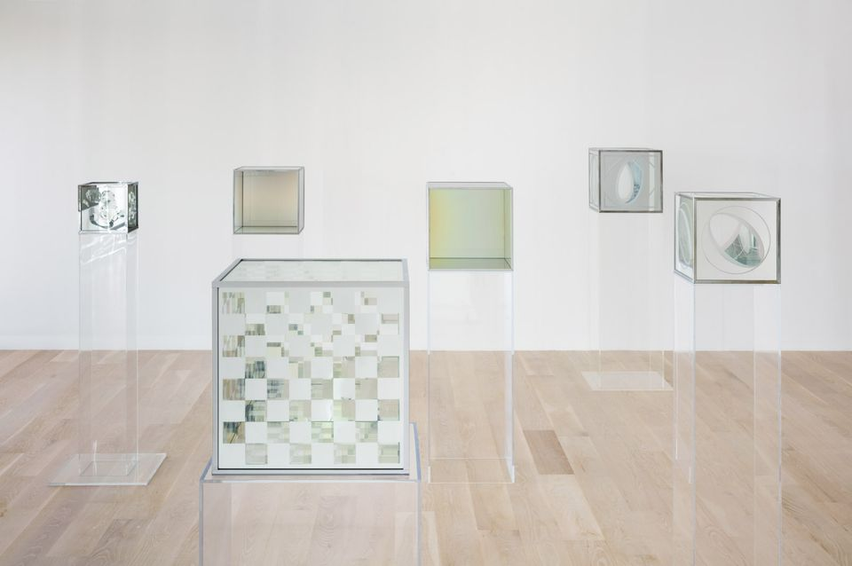 Installation view of Larry Bell: Time Machines at the Institute of Contemporary Art, Miami