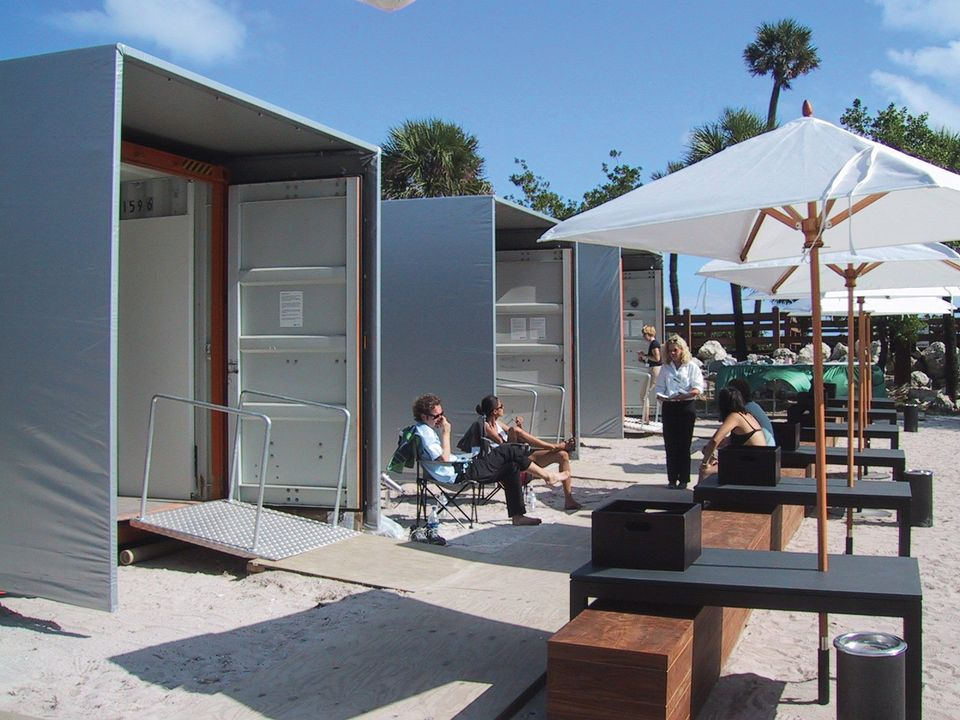The shipping-container exhibition spaces from the Art Positions sector of the first Miami Beach show