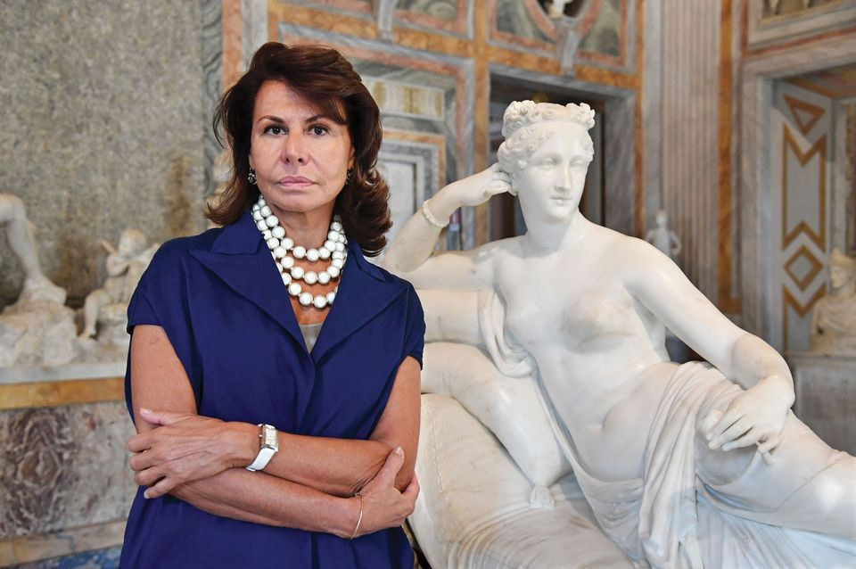 Anna Coliva has fallen foul of Italy's Kafka-esque bureaucracy. Here she is with Antonio Canova's sculpture of Paolina Borghese