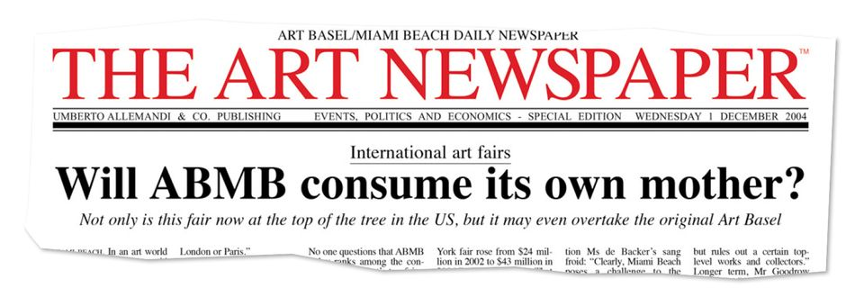 The front-page story of our first newspaper at Art Basel in Miami Beach