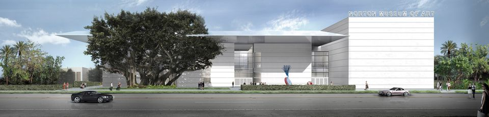The new façade of the Norton Museum of Art , as seen from South Dixie Highway, designed by Foster + Partners