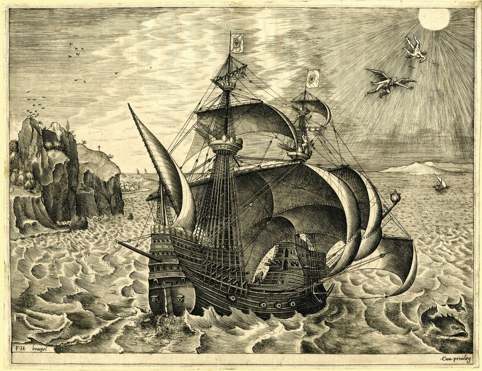 Peter Bruegel the Elder, Sailing Vessels, Armed Three-Master with Daedelus and Icarus in the sky, engraved by Frans Huys (1560-6)