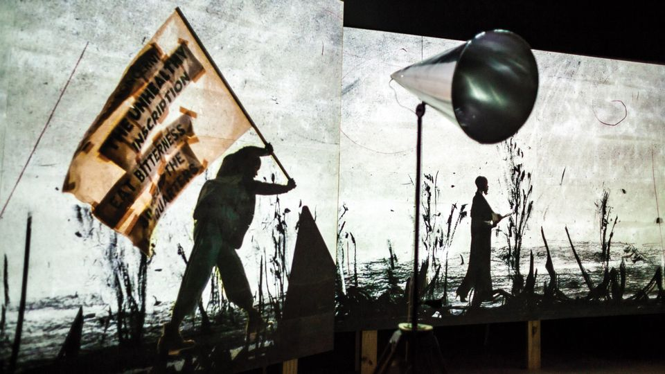 William Kentridge's video installation piece More Sweetly Play the Dance