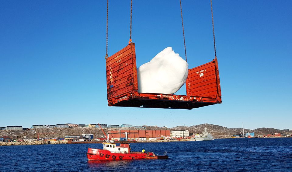Harvesting ice at Nuuk Port and Harbour, Greenland