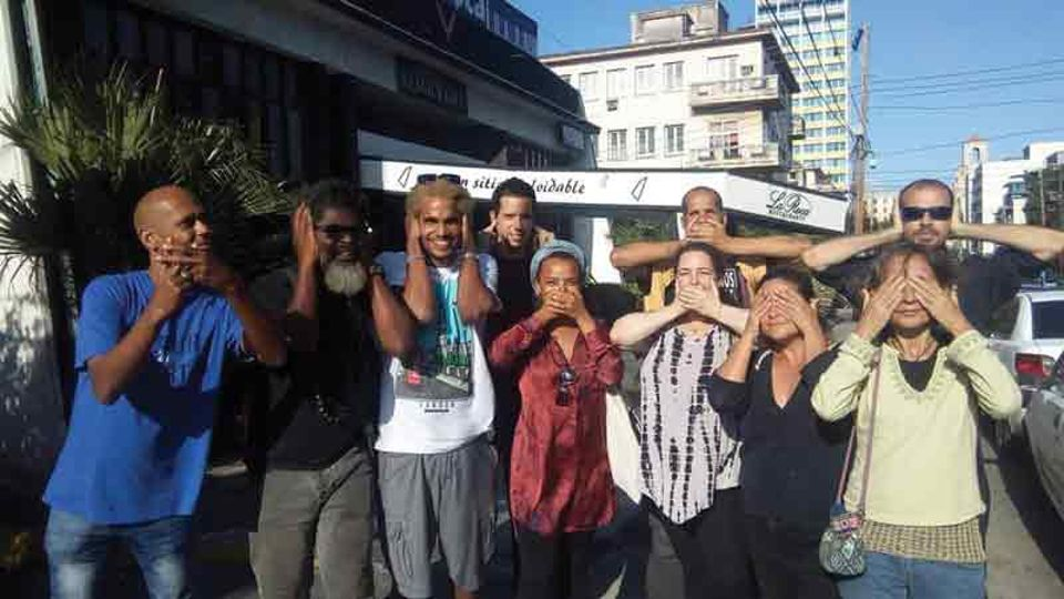 Tania Bruguera (third from right) and other Cuban artists celebrating their release from jail