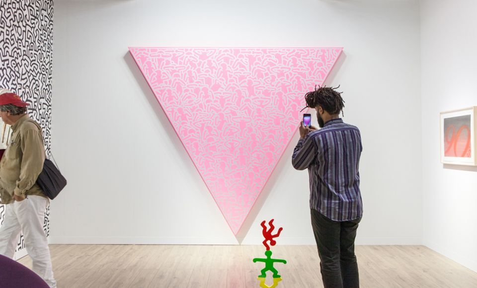 Keith Haring's Silence = Death (1988) is on show at Lévy Gorvy's stand