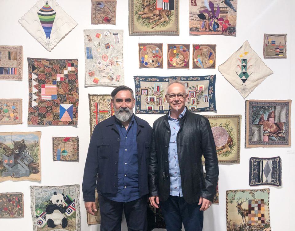 "The Argentine artists Leo Chiachio and Daniel Giannone trained as painters, but primarily work in embroidery. They repurpose commercial tapestries, found in secondhand shops or given by family and friends, as canvases. ""Each piece has a history,"" Chiachio says. They refer to works by female Modern artists such as Sonia Delaunay and Anni Albers, using a historically female medium. ""It's like a double homage to women,"" says Valeria Pecoraro of the Buenos Aires-based gallery."