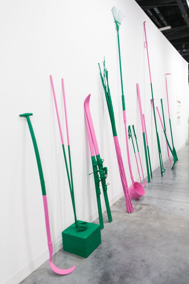 """This work is a piece from the artist's Autorreconstrucción performance at the Kunsthalle Zürich this year, which, like his performance for Art Basel in Miami Beach, had suspended installations made of locally found objects,"" Kaiser says. This iteration includes ""very Swiss things"", such as gardening tools and skis. The curator adds that Cruzvillegas ""bases his sculptural practice around metaphors on social conditions—every place it is installed, there's a different story""."
