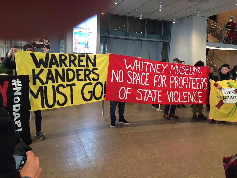 Protest banners at the Whitney Museum of American Art