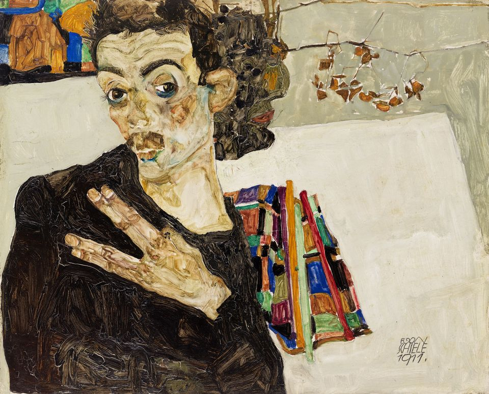 Egon Schiele, Self-Portrait with Black Clay Vase and Spread Fingers (1911)