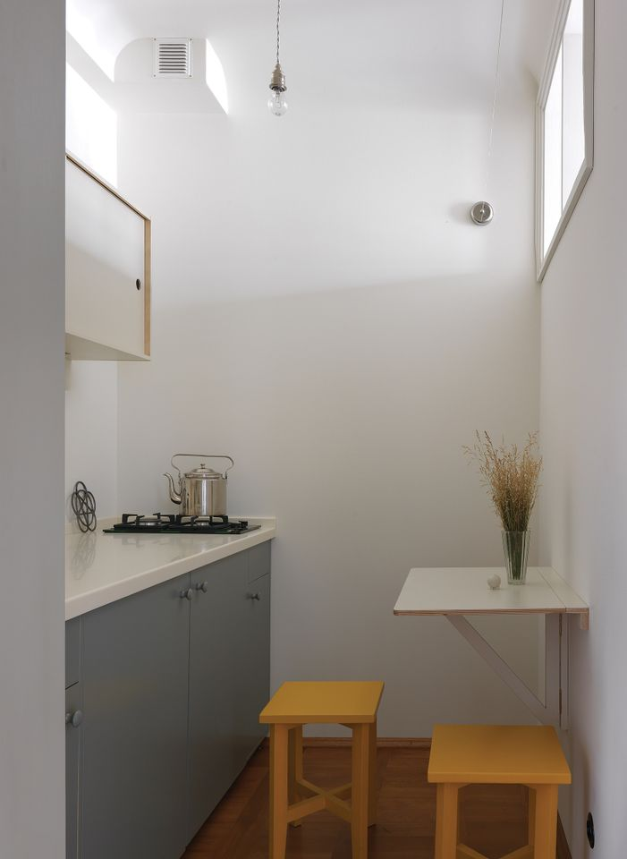 The 35m sq. one-bedroom flat has a minuscule kitchen and bathroom