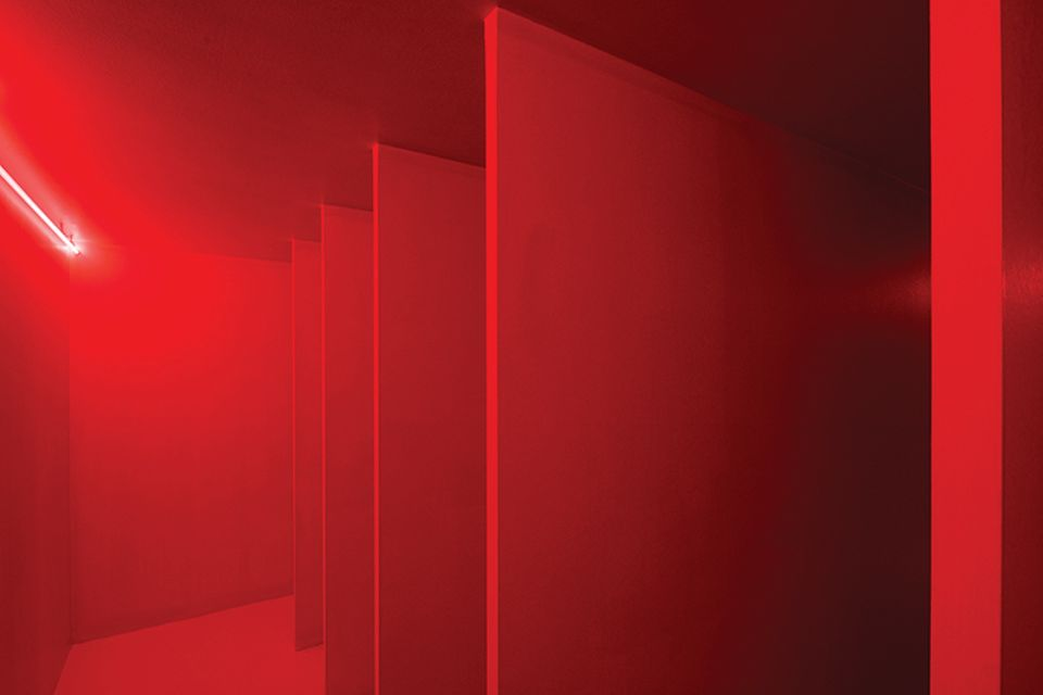 Fontana's Spatial Environment with Red Light (1967), now reconstructed