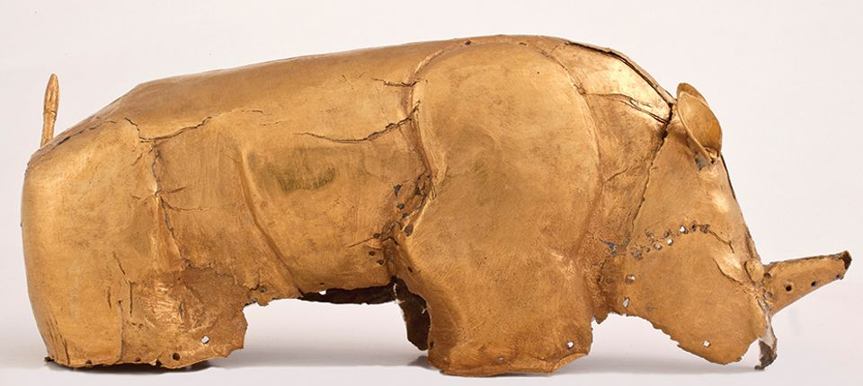 The gold foil rhino from the Mapungubwe collection
