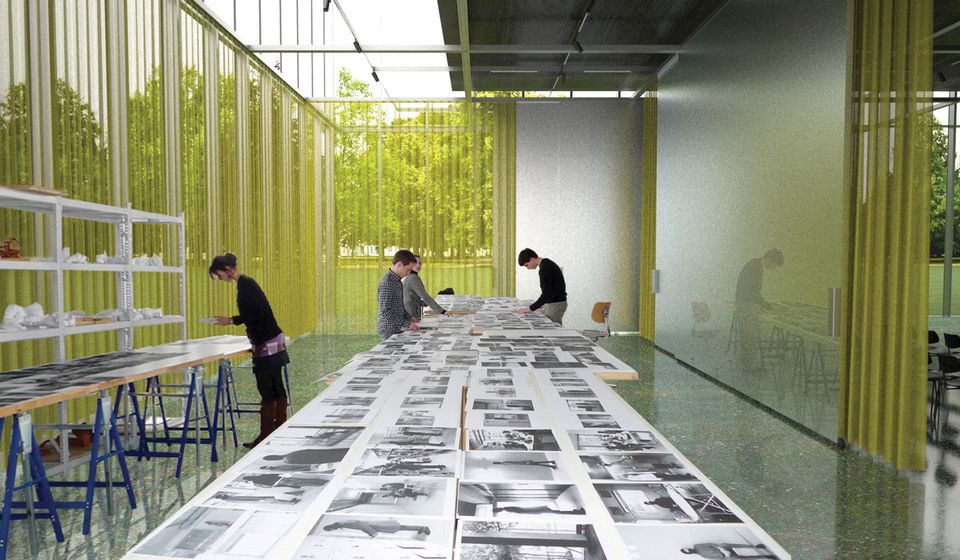 A rendering of the interior of the Bauhaus Museum in Dessau